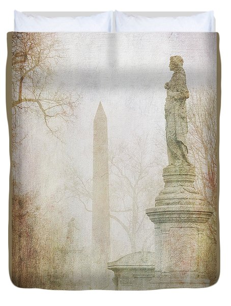 Duvet Cover featuring the photograph Monumental Fog by Heidi Hermes