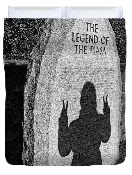 Monumental Shadows Peace Out Duvet Cover