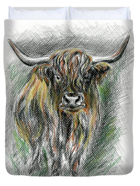 Duvet Cover featuring the drawing Moo by MM Anderson