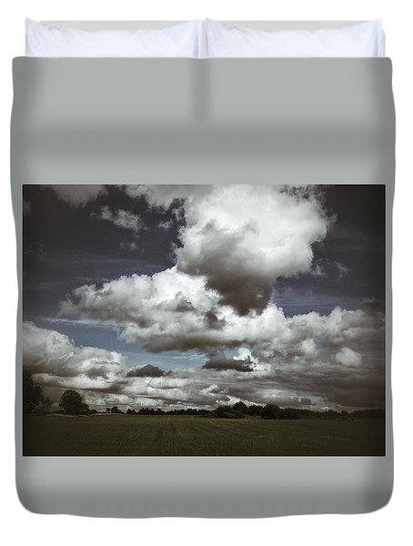 Duvet Cover featuring the photograph Moodiness In The Clouds by Karen Stahlros