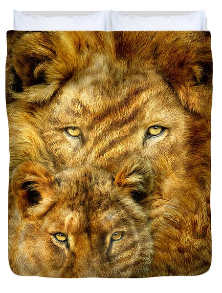 Duvet Cover featuring the mixed media Moods Of Africa - Lions 2 by Carol Cavalaris