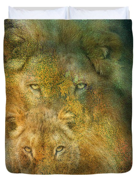 Moods Of Africa - Lions Duvet Cover