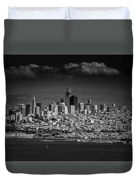 Moody Black And White Photo Of San Francisco California Duvet Cover by Steven Heap