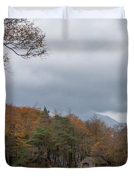 Moody Clouds Over A Boathouse On Wast Water In The Lake District Duvet Cover