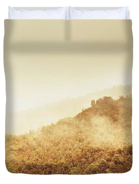 Moody Mountain Morning Duvet Cover