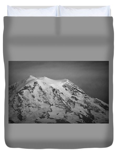 Duvet Cover featuring the photograph Moody Mt. Rainier by Erin Kohlenberg