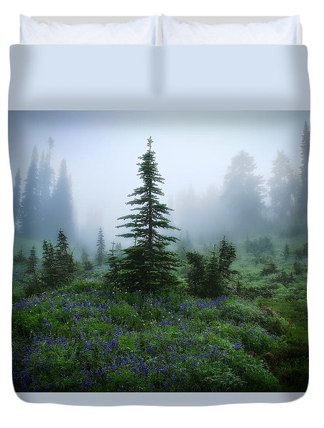 Moody Myrtle Falls Trail At Mount Rainier Duvet Cover