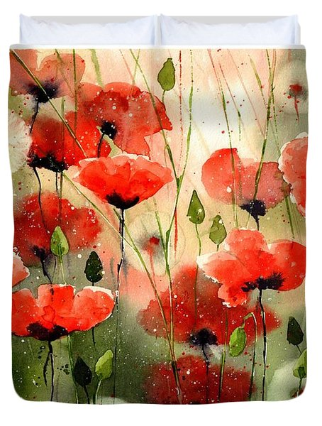 Moody Poppies In The Afternoon Duvet Cover