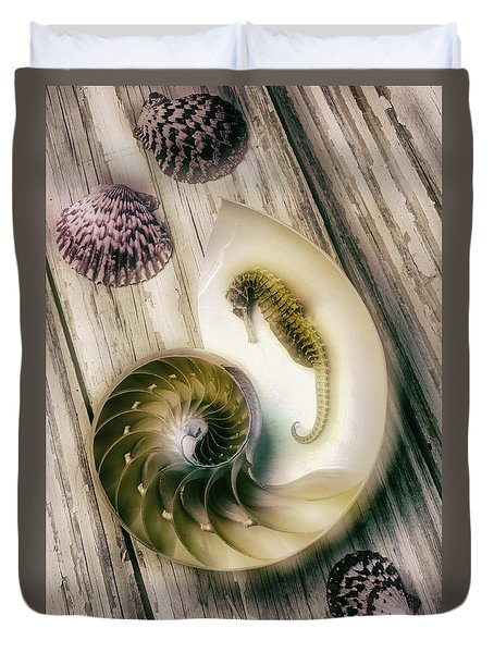Moody Seahorse Duvet Cover by Garry Gay