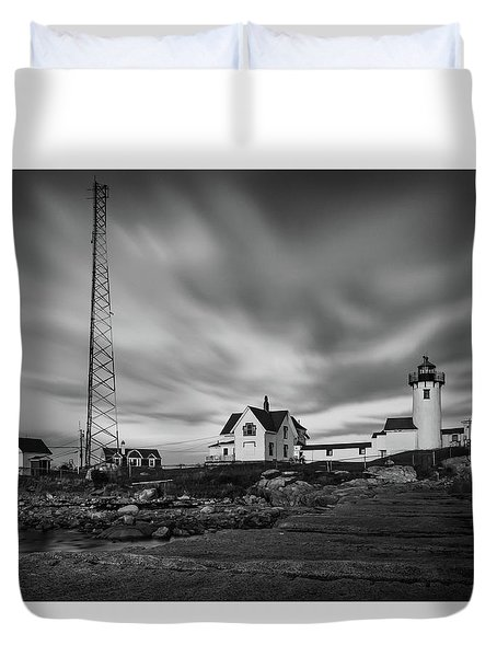 Moody Sky At Eastern Point Lighthouse Duvet Cover