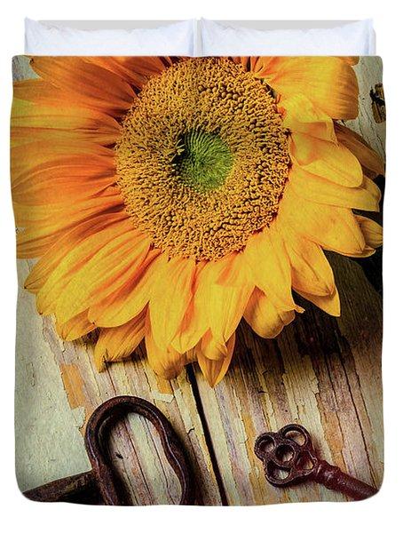 Moody Sunflower With Keys Duvet Cover
