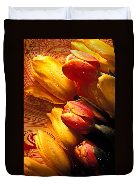 Moody Tulips Duvet Cover by Garry Gay