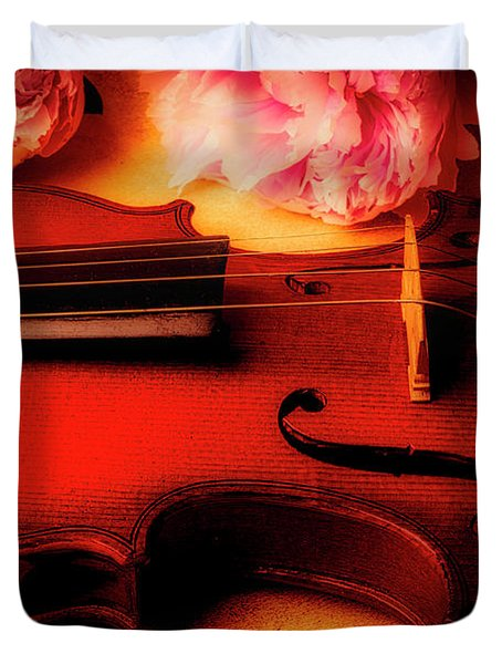 Moody Violin With Peonies Duvet Cover