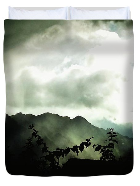 Duvet Cover featuring the photograph Moody Weather by Mimulux patricia no No