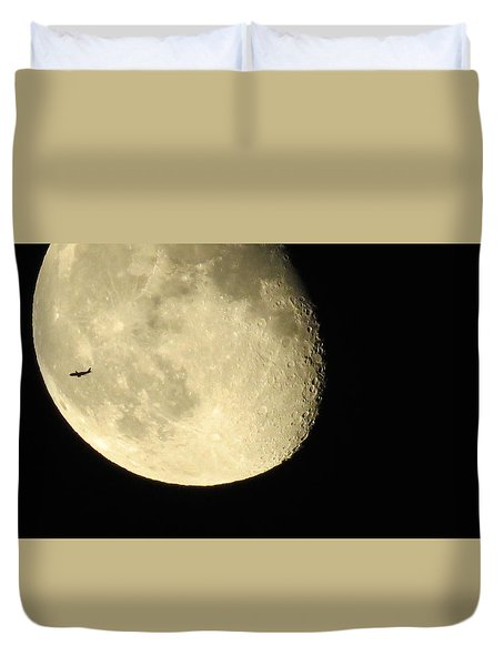 Duvet Cover featuring the photograph Moon And Plane Over Sanibel by Melinda Saminski