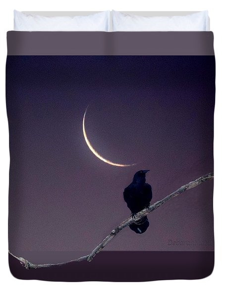 Raven Under Crescent Moon Duvet Cover