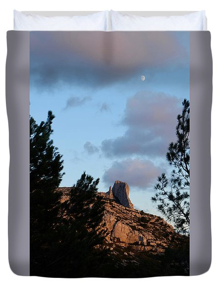 Moon And Rock Duvet Cover