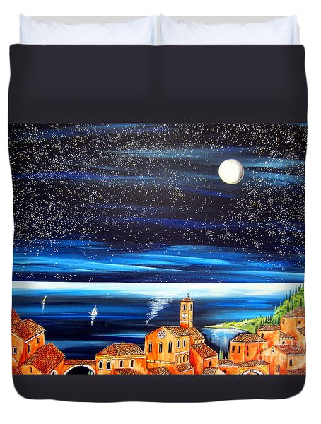 Moon And Stars Over The Village  Duvet Cover