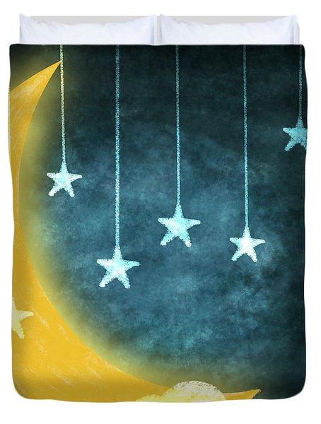 Moon And Stars Duvet Cover by Setsiri Silapasuwanchai