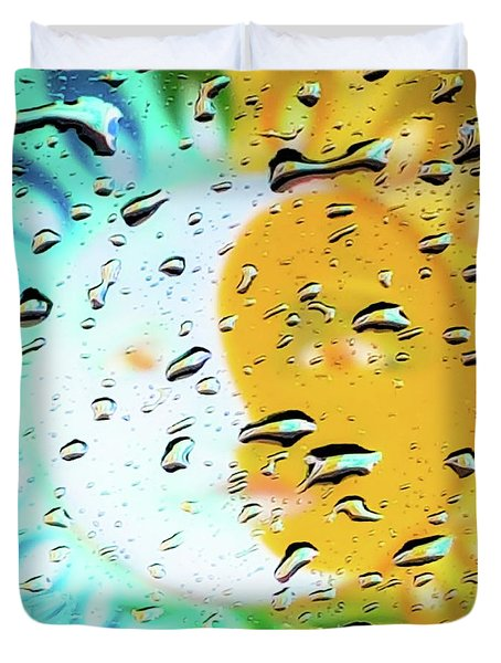 Duvet Cover featuring the photograph Moon And Sun Rainy Day Windowpane by D Davila