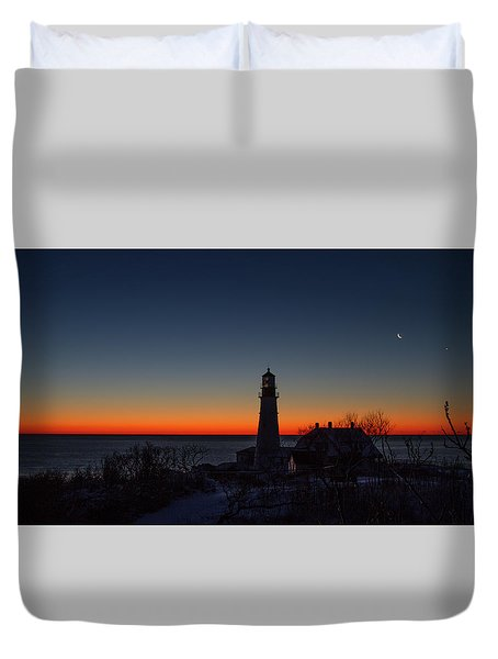 Moon And Venus - Headlight Sunrise Duvet Cover