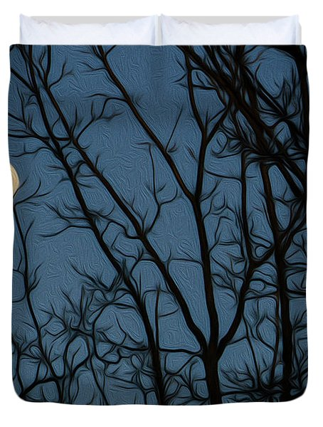Moon At Dusk Through Trees - Impressionism Duvet Cover