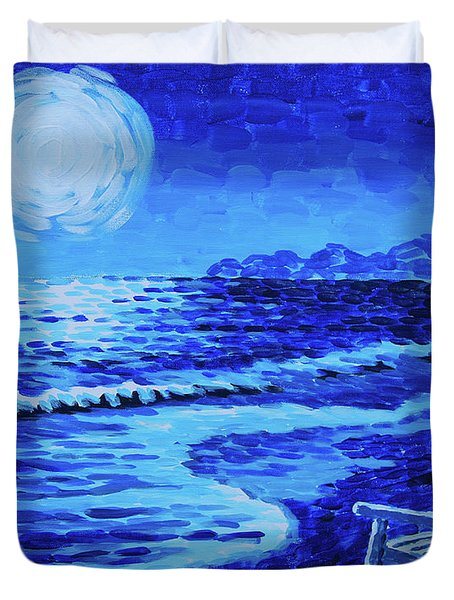 Moon Beach Duvet Cover by Tommy Midyette