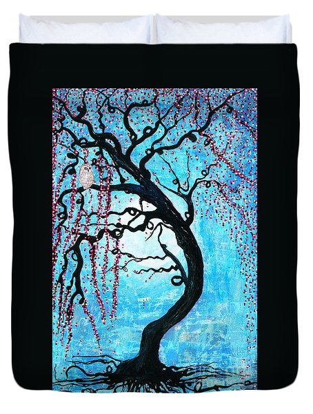 Duvet Cover featuring the mixed media Moon Blossoms by Natalie Briney
