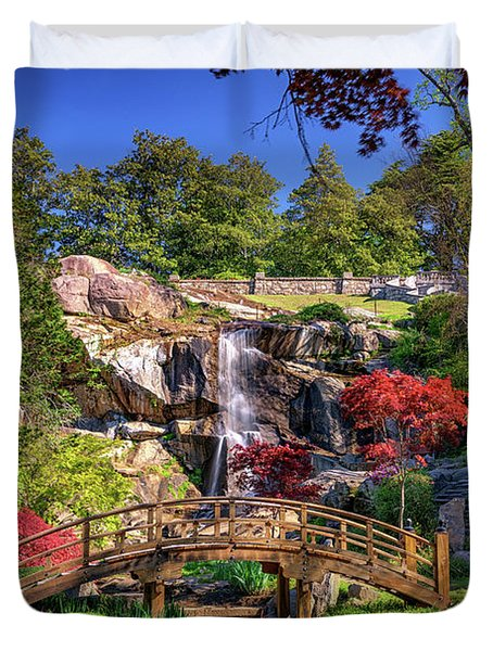 Duvet Cover featuring the photograph Moon Bridge And Maymont Falls by Rick Berk