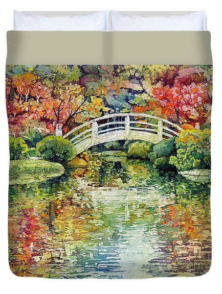Duvet Cover featuring the painting Moon Bridge by Hailey E Herrera