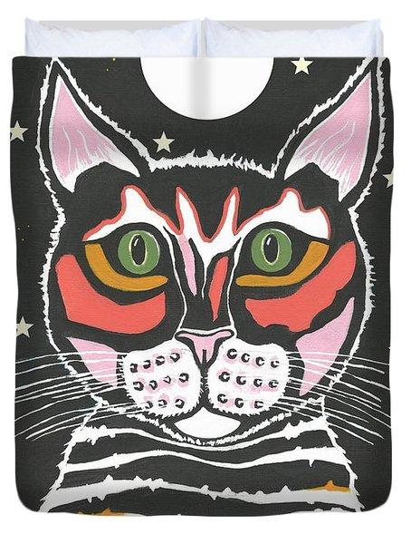 Moon Cat Duvet Cover