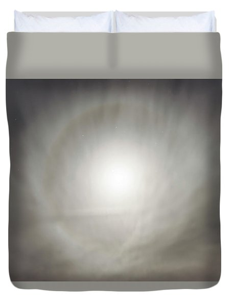 Duvet Cover featuring the photograph Moon Dog by Leland D Howard