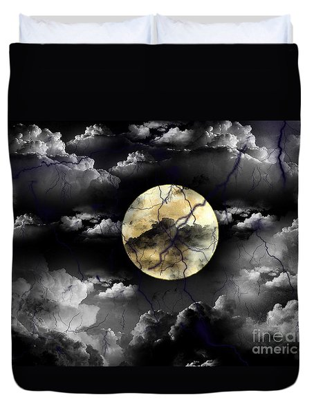 Moon In The Storm Duvet Cover