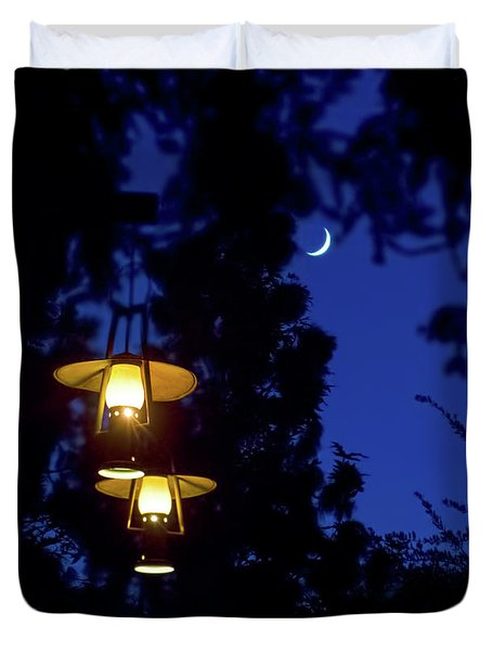 Duvet Cover featuring the photograph Moon Lanterns by Mark Andrew Thomas