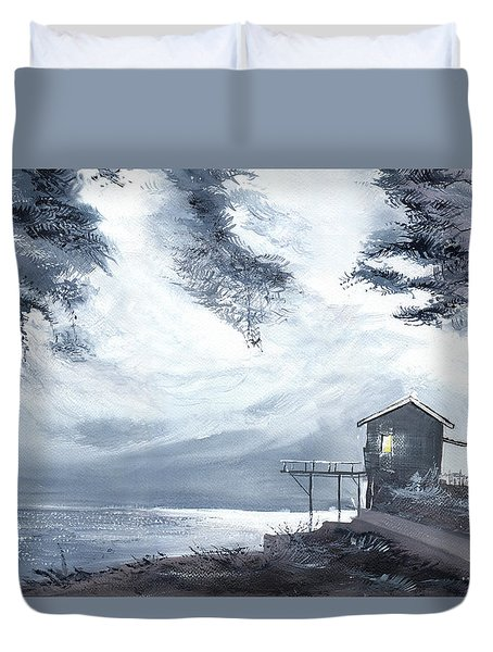 Duvet Cover featuring the painting Moon Light New by Anil Nene