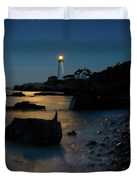 Duvet Cover featuring the photograph Moon Light Over The Lighthouse  by Emmanuel Panagiotakis