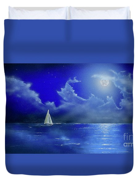 Duvet Cover featuring the painting Moon Light Sail by Mary Scott
