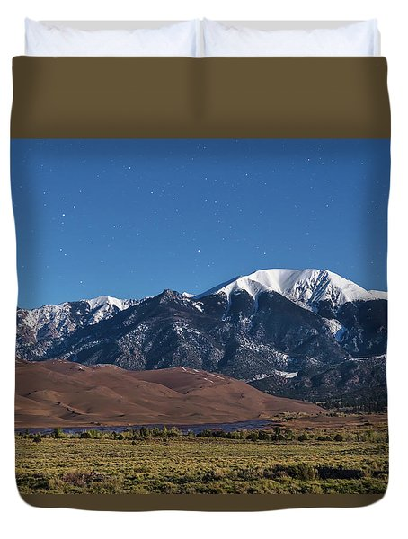 Moon Lit Colorado Great Sand Dunes Starry Night  Duvet Cover by James BO Insogna