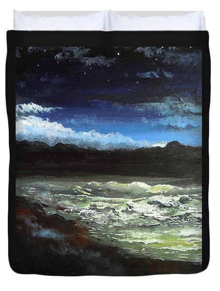 Moon Lit Sea Duvet Cover