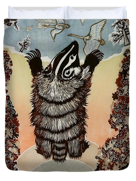Moon Of Falling Leaves Duvet Cover by Dawn Senior-Trask