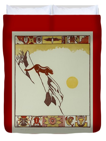 Duvet Cover featuring the drawing Moon Of Red Chokecherries by Dawn Senior-Trask