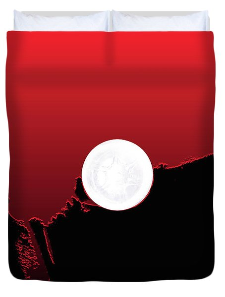 Moon On Abstract World Duvet Cover by Bruce Iorio