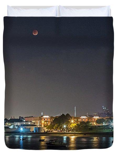 Moon Over Aquatic Park Duvet Cover