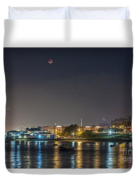 Duvet Cover featuring the photograph Moon Over Aquatic Park by Kate Brown