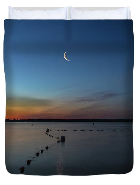Moon Over Cayuga Duvet Cover