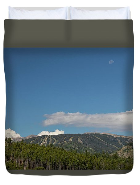 Duvet Cover featuring the photograph Moon Over Eldora Summer Season Ski Slopes by James BO Insogna