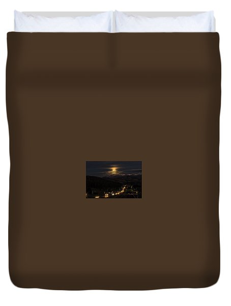 Moon Over Genessee Duvet Cover