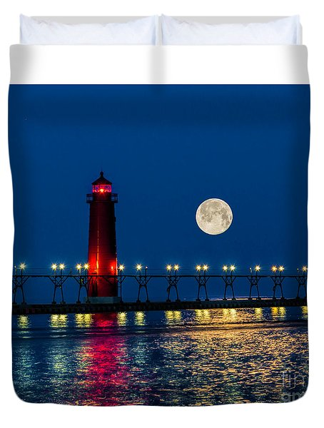 Moon Over Grand Haven Duvet Cover