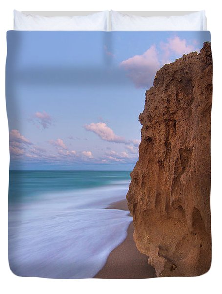 Moon Over Hutchinson Island Beach Duvet Cover
