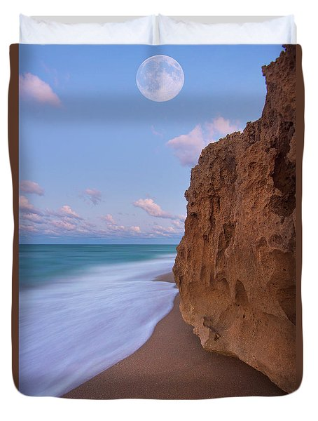 Moon Over Hutchinson Island Beach Duvet Cover by Justin Kelefas